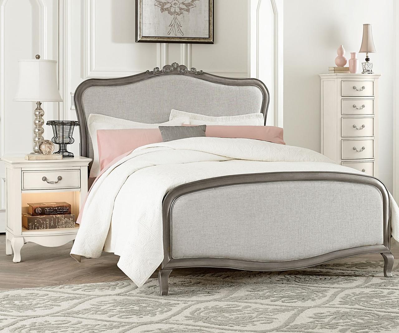Kensington silver finish katherine full size upholstered for Upholstered full bed