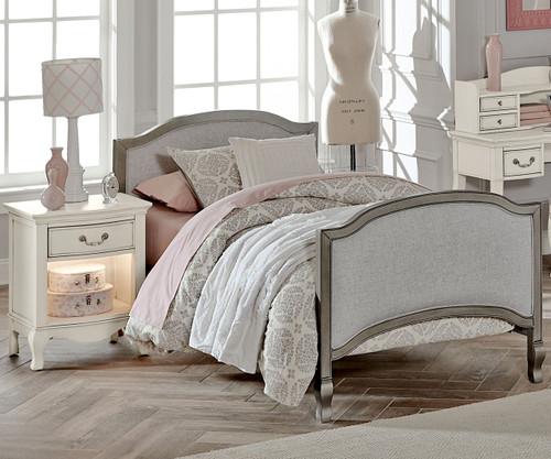 Kensington Victoria Upholstered Bed Twin Size Antique Silver   NE Kids  Furniture   NE30030