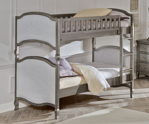 Kensington Victoria Bunk Bed Antique Silver | NE Kids Furniture | NE30031 - Kensington Silver Finish Victoria Twin Size Upholstered Bed 30031
