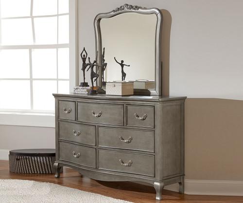 Kensington 7 Drawer Dresser Antique Silver   NE Kids Furniture   NE30500 - Kensington Silver Finish Seven Drawer Dresser 30500 NE Kids