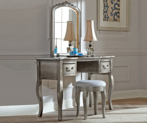 Kensington Lighted Vanity Antique Silver | NE Kids Furniture | NE30540 30560