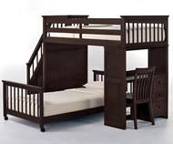 School House Stair Loft Bunk Bed Chocolate | NE Kids | NE5090LWBX