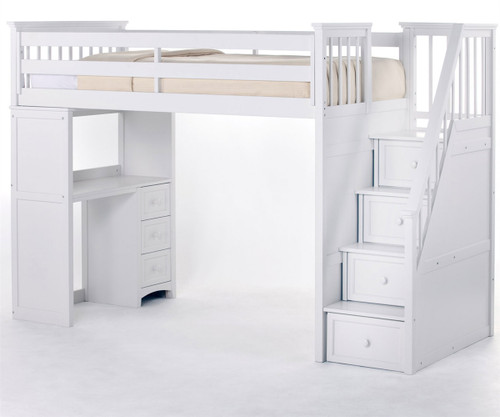 CLEARANCE School House Stair Loft Bed White |  | NE7090-X-SD