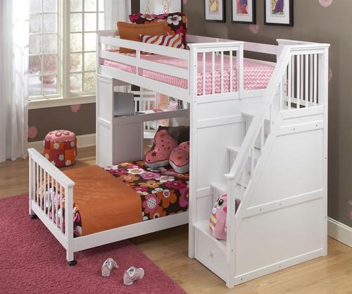 School House Stair Loft Bunk Bed White