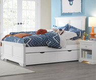 Walnut Street Devon Full Panel Bed with Trundle White | NE Kids | NE8025-8560