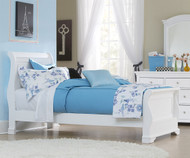Walnut Street Riley Sleigh Bed White | NE Kids | NE8030