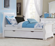 Walnut Street Riley Sleigh Bed with Trundle White | NE Kids | NE8030-8560