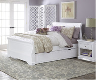 Walnut Street Riley Full Sleigh Bed with Trundle White | NE Kids | NE8035-8560