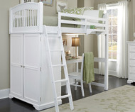 Walnut Street Locker Loft Bed with Desk White | NE Kids | NE8060-DESK