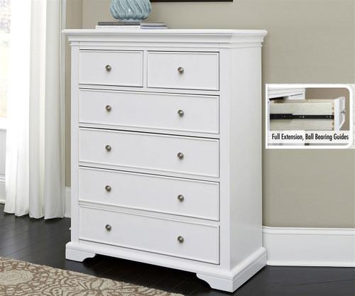 Attractive Walnut Street 6 Drawer Chest White | NE Kids Furniture | NE8520