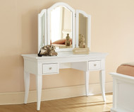 Walnut Street Vanity Desk White | NE Kids Furniture | NE8540-8545