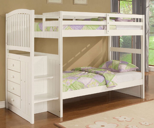Angelica Stair White Stepper Bunk Bed | Powell Furniture | PW929-037