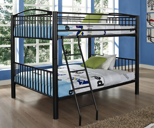 heavy metal full over full bunk bed black powell furniture pw938137