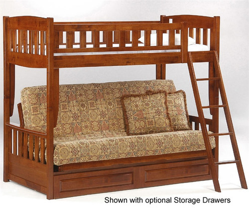 E Twin Over Futon Bunk Bed Cherry New Energy Furniture Fb