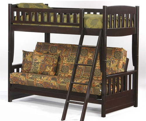 spice twin over futon bunk bed chocolate   new energy furniture   spice fb  night and day spice cinnamon twin over futon bunk bed in chocolate      rh   kidsfurniturewarehouse