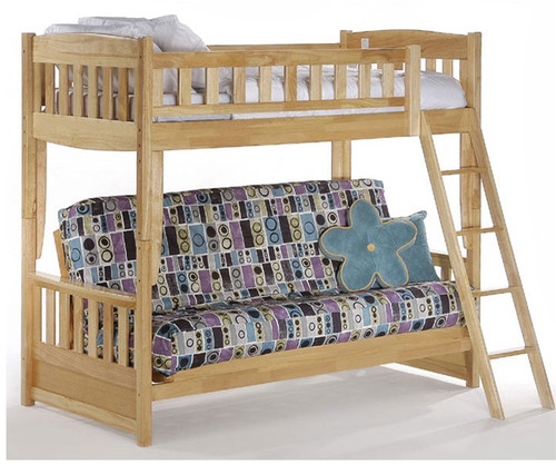 spice twin over futon bunk bed natural   new energy furniture   spice fb  night and day spice cinnamon twin over futon bunk bed in natural      rh   kidsfurniturewarehouse