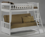CLEARANCE Spice Twin over Futon Bunk Bed White | New Energy Furniture | SPICE-FB-W-SD