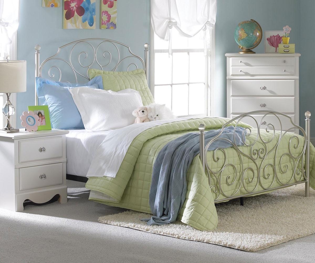 spring rose metal bed for girls full size bed with crystal knobs standard furniture kids beds. Black Bedroom Furniture Sets. Home Design Ideas