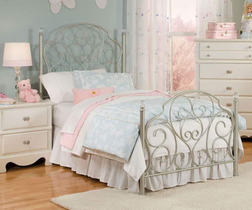 Spring Rose Metal bed for girls   Twin Size Bed with Crystal knobs ...
