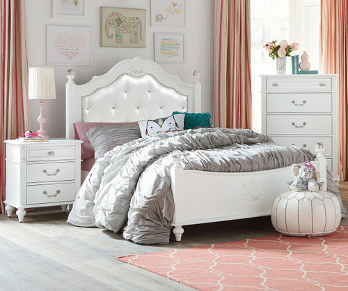 Olivia Twin Size Upholstered Poster Bed 93850