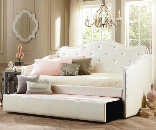 Caroline Daybed With Trundle In Upholstered White 98150