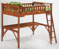 Timber Creek Full Size Loft Bed with Desk Cherry | Night and Day Furniture | TCFLOFT-CHY-CL