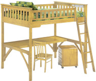 Timber Creek Full Size Loft Bed with Desk Natural | Night and Day Furniture | TCFLOFT-NAT-CL
