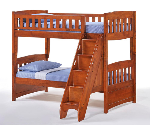 Cinnamon Twin Over Twin Bunk Bed With Stairs Night And