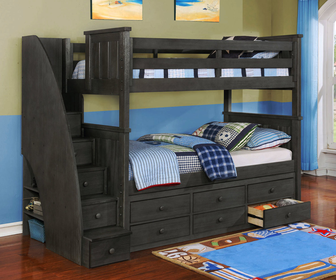 Brandon Bunk Bed With Stairs In Driftwood Gray Allen House Kids