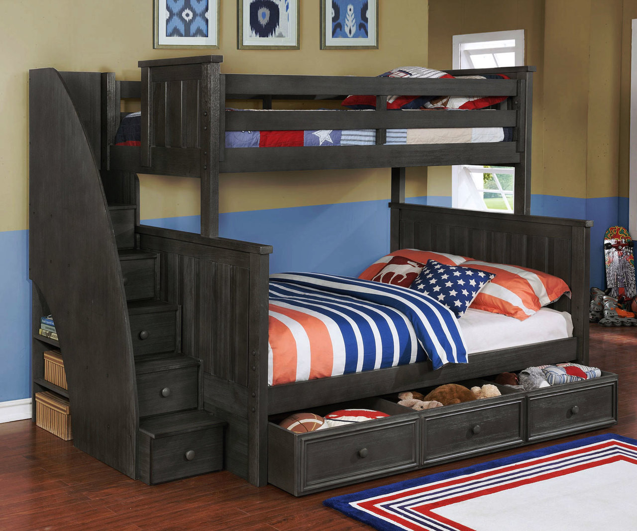 Brandon Bunk Bed Twin Over Full With Stairs In Driftwood Gray