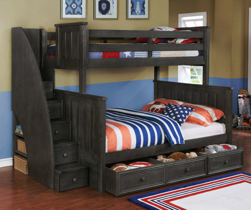 ... Twin Over Full Bunk Bed With Stairs Weathered Dark Gray. Image 1