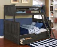 Allen House Brandon Twin over Full Bunk Bed Weathered Dark Gray