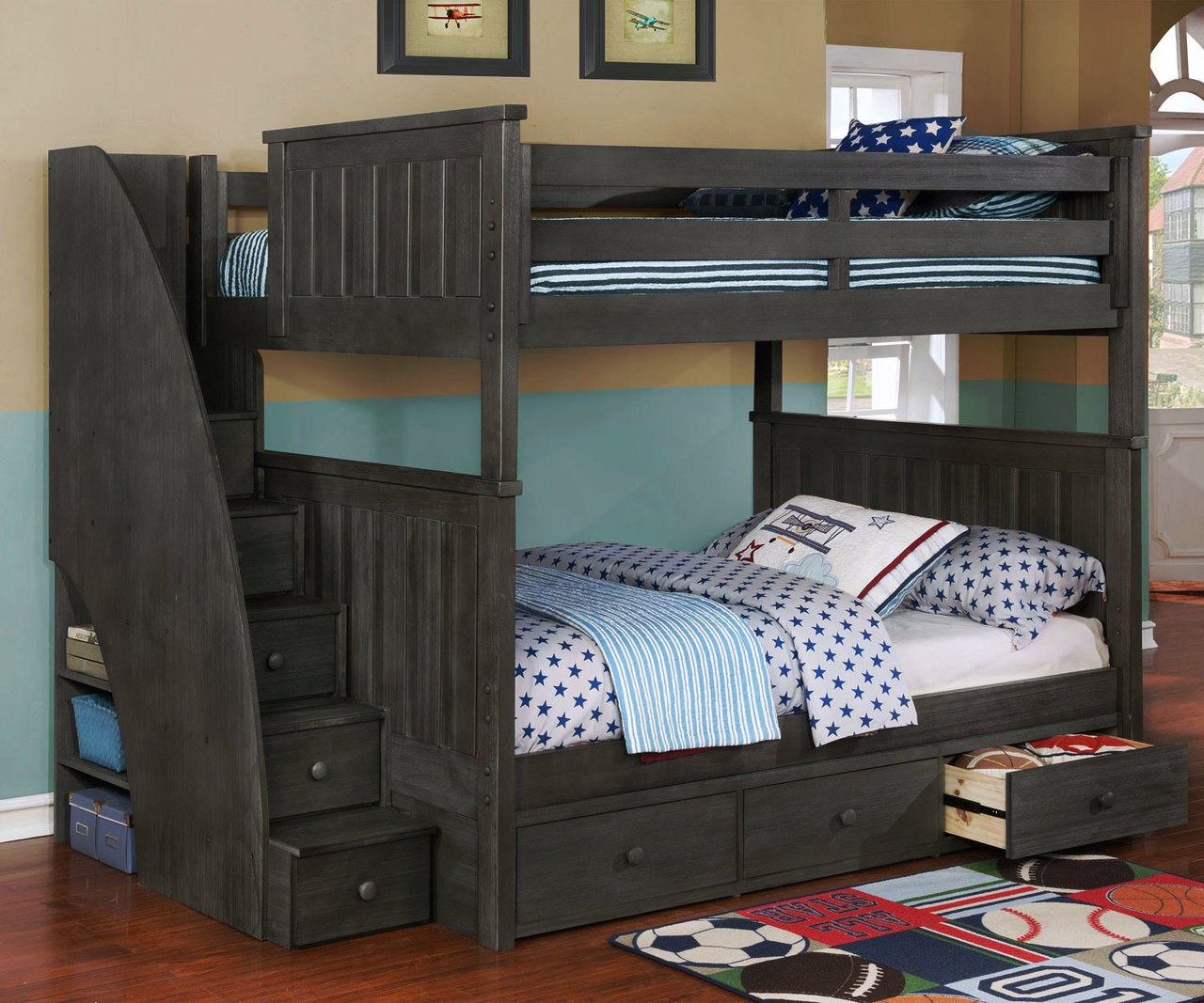 Brandon Full Over Full Bunk Bed With Stairs In Driftwood Gray