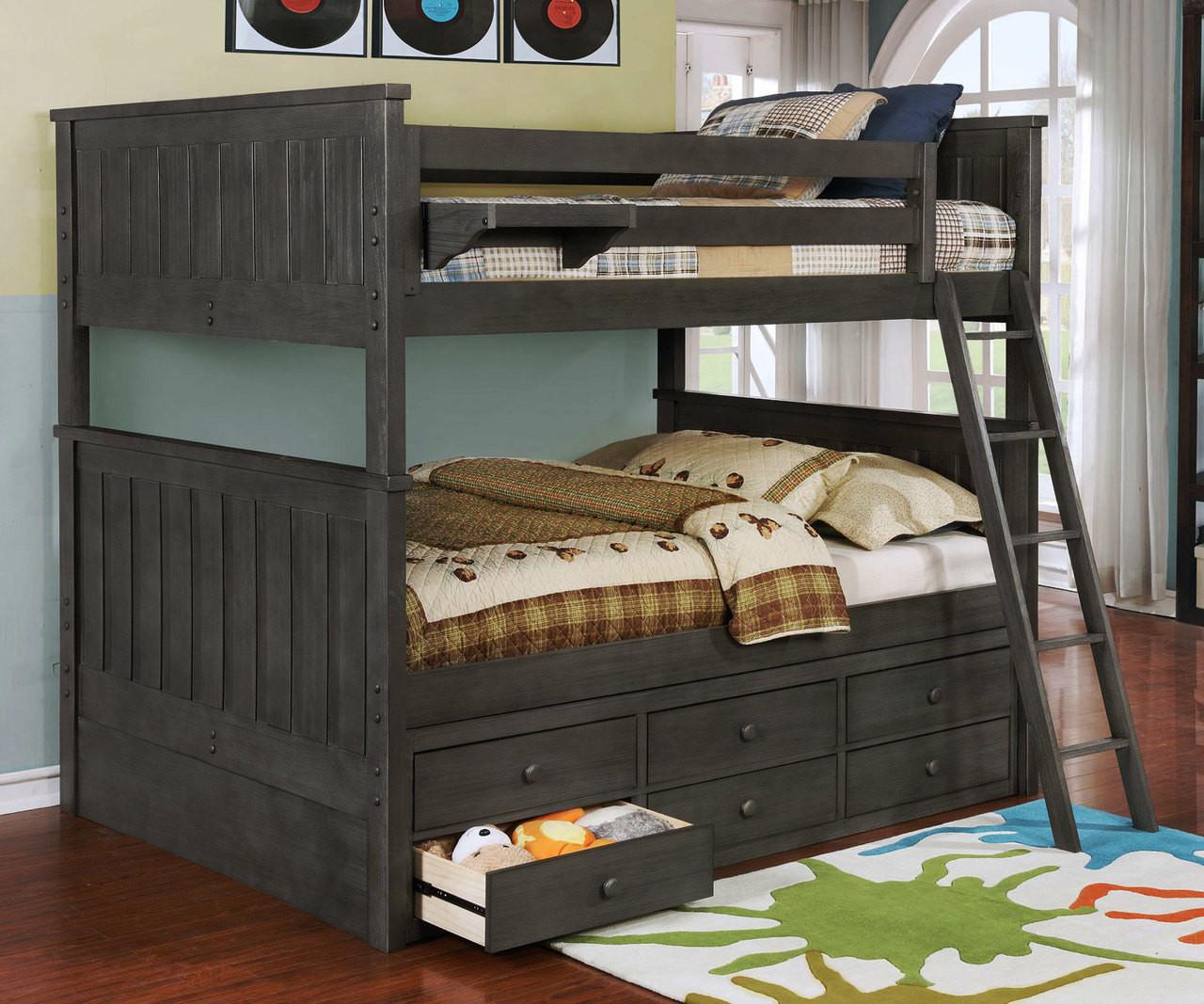 Brandon Full Over Full Bunk Bed In Driftwood Gray Allen House