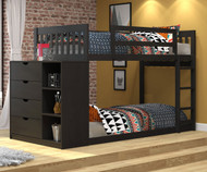 "Wiley Low Bunk Bed with Chest Black-Brown 54""H"
