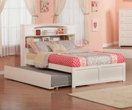 Urban Lifestyle Newport Bookcase Platform Bed with Trundle Full Size White | Atlantic Furniture | ATL-AR8532012