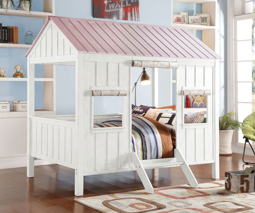 Spring Cottage Bed in White/Pink Finish 37695F | Acme Furniture ...