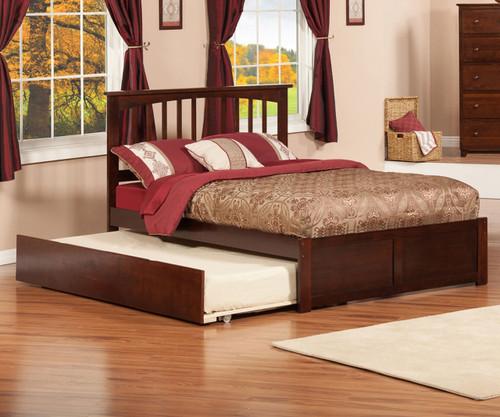 Urban Lifestyle Mission Platform Bed with Trundle Full Size Antique Walnut | Atlantic Furniture | ATL-AR8732014