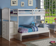 Arch Twin over Full Stair Stepper Bunk Bed White