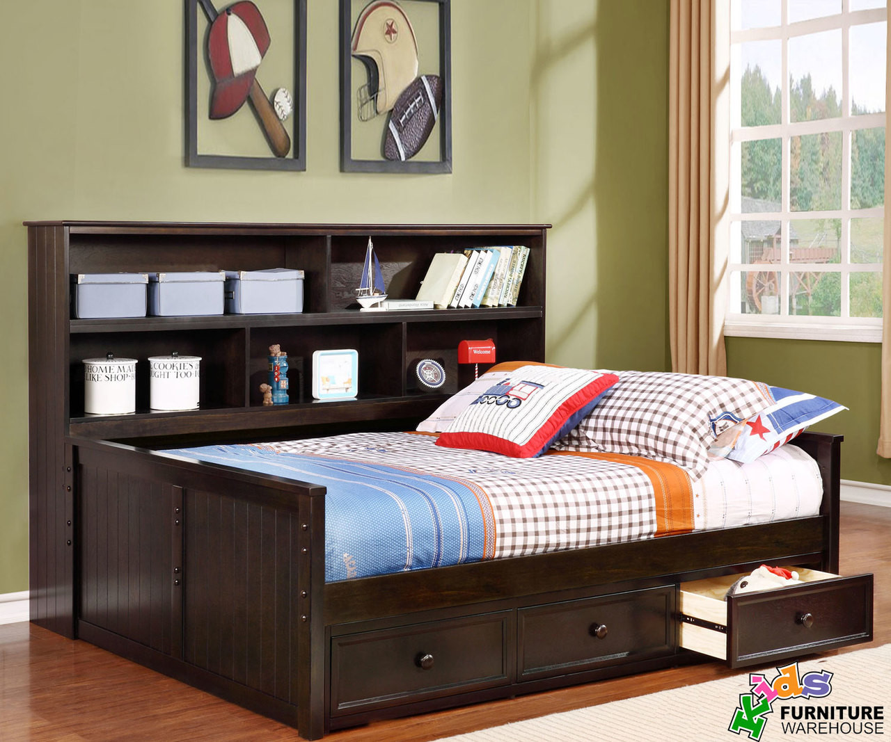 full size bookcase captains daybed graphite allen house kids captains beds and daybeds. Black Bedroom Furniture Sets. Home Design Ideas