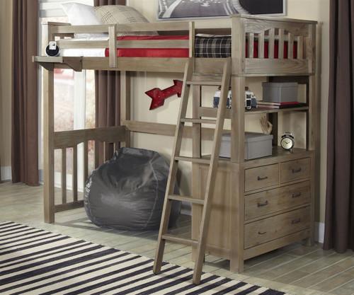Everglades Loft Bed Twin Size Driftwood   NE Kids Furniture   NE10070