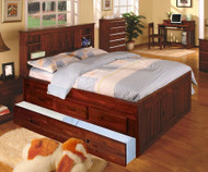 Acadia Merlot Full Size Bookcase Trundle Captains Bed