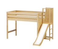 Maxtrix TURF Mid Loft Bed with Slide Platform Twin Size Natural