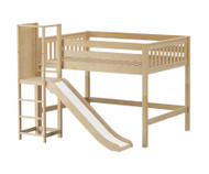 Maxtrix RAVINE Mid Loft Bed with Slide Platform Full Size Natural