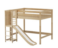 Maxtrix GROOVE High Loft Bed with Slide Platform Full Size Natural