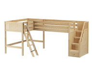 Maxtrix PAIR Corner Mid Loft Bed Twin Size Natural