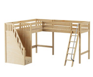 Maxtrix ROOFTOP Corner High Loft Bed Twin Size Natural