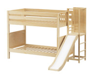 Maxtrix GAP Medium Bunk Bed with Slide Platform Twin Size Natural