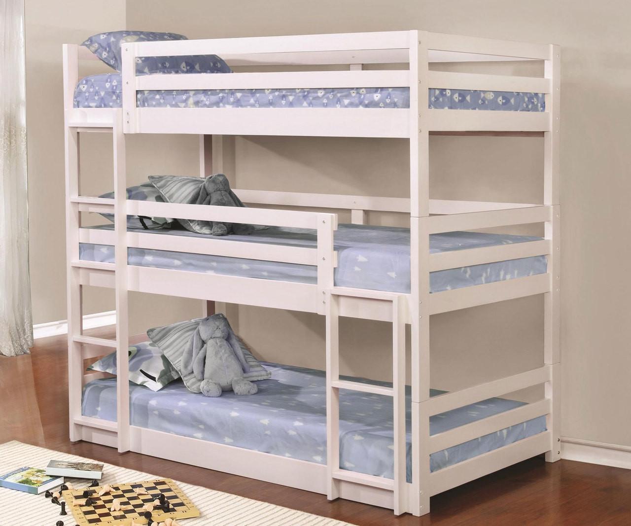 Coaster Sandler Triple Bunk Bed Twin Size White 401302 Coaster