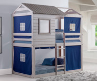 Cabin Bunk Bed Gray with Blue Tent